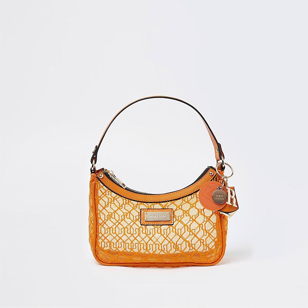 Orange mesh scoop shoulder bag