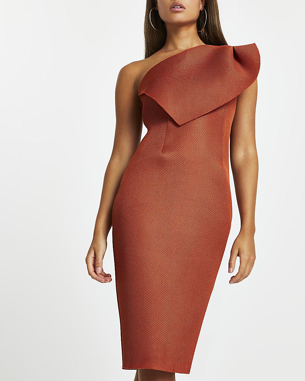 Orange midi fishnet bodycon dress