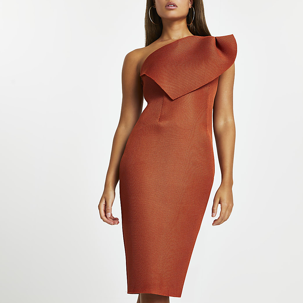 Orange midi fishnet bodycon dress