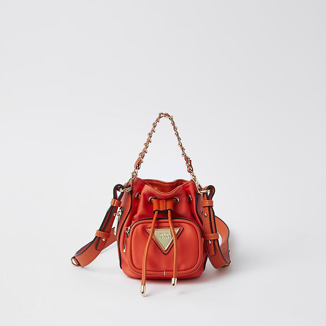 Orange mini nylon duffle bag