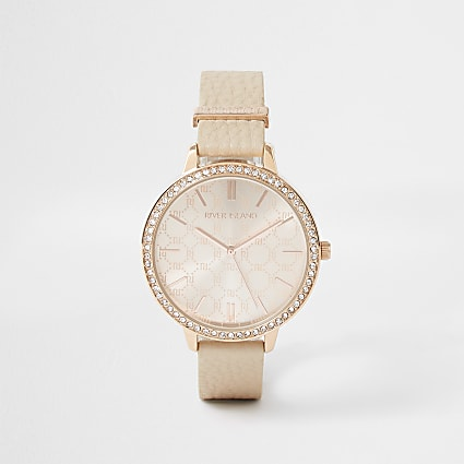 Orange Monogram Dial PU Strap Watch