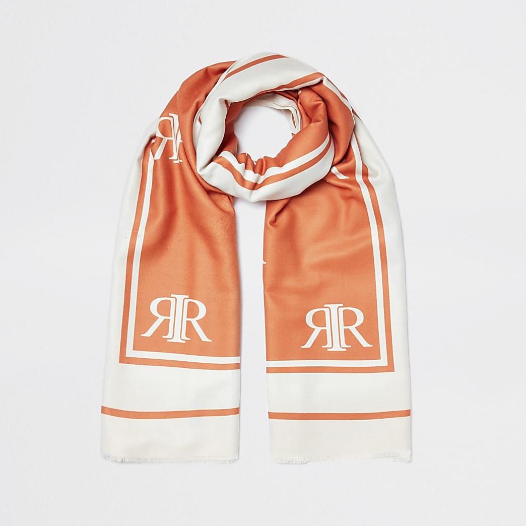 Orange monogram maxi scarf