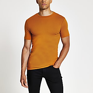 Orange muscle fit crew neck T-shirt