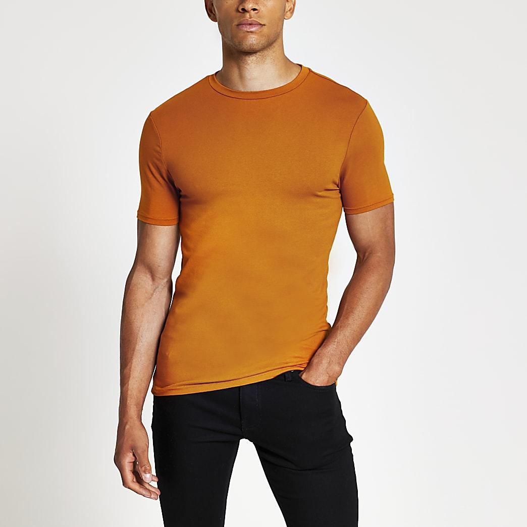 Orange muscle fit crew neck T-shirt