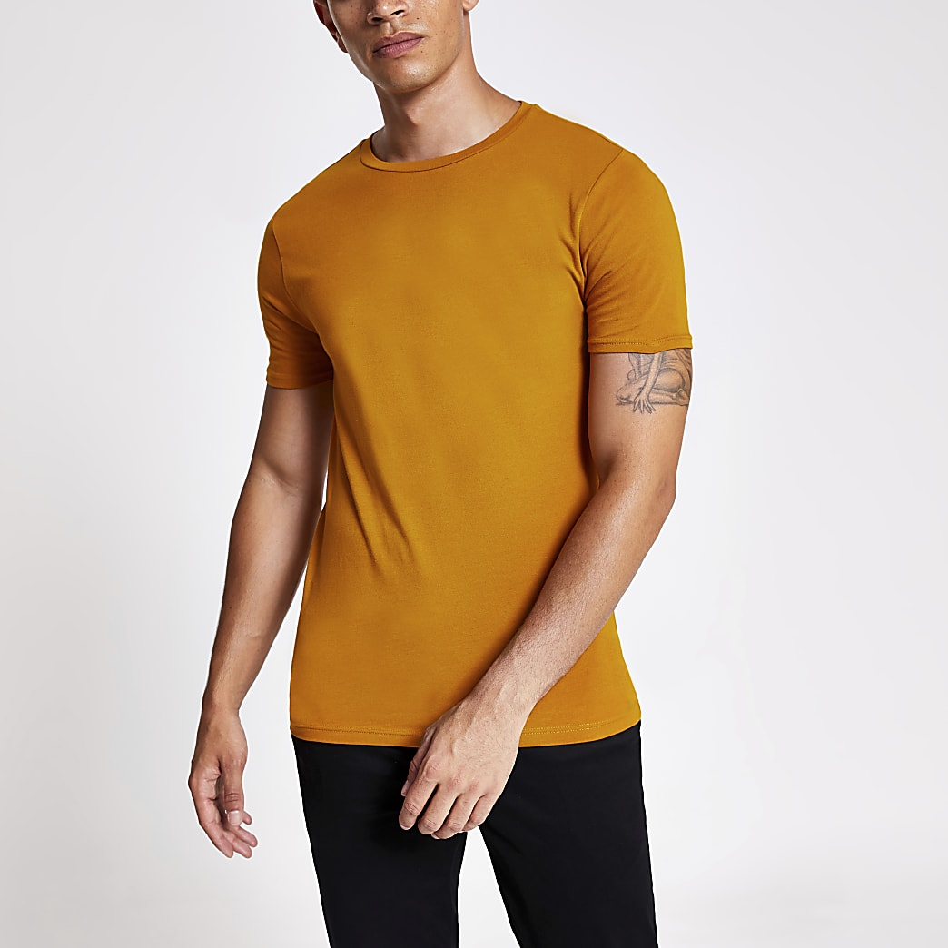 Orange muscle fit short sleeve T-shirt