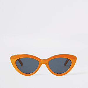 Schmale Cateye-Sonnenbrille in Orange