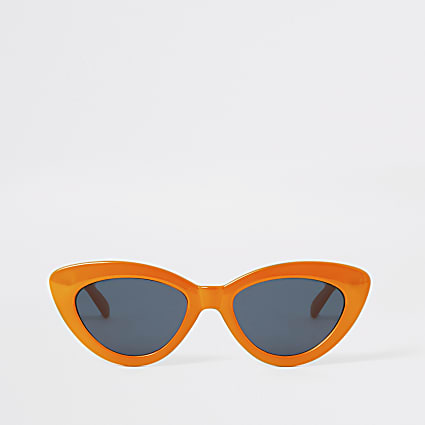 Orange narrow cateye sunglasses