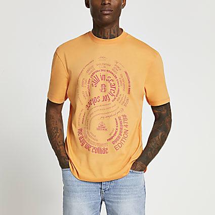 Orange neon solace print t-shirt