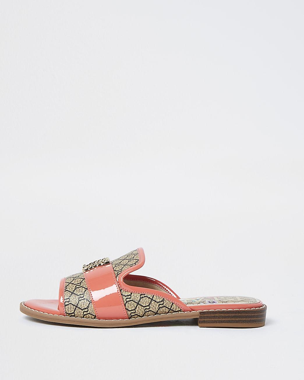 Orange open toe loafers