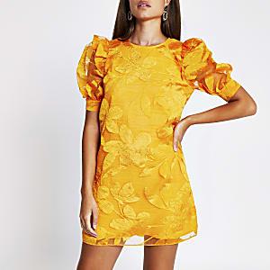 Orange organza puff sleeve mini dress