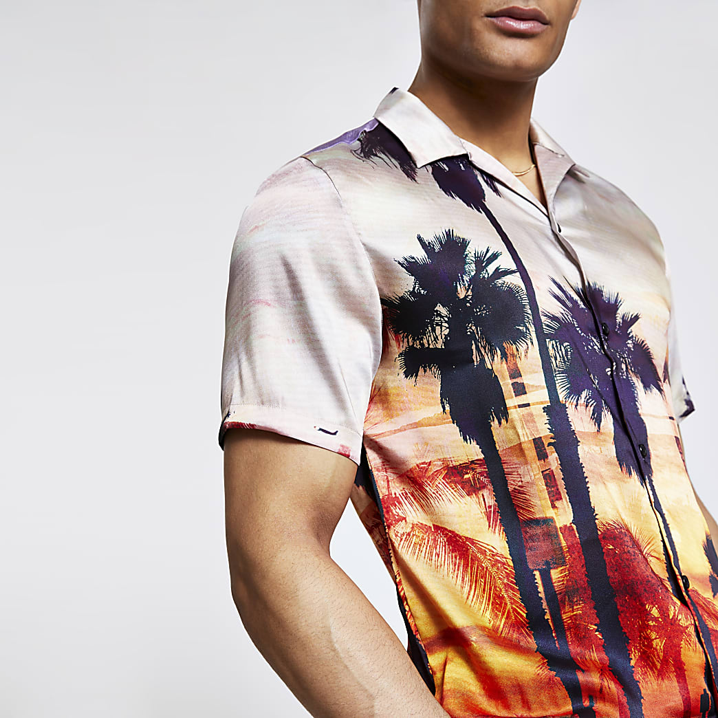 Orange palm print regular fit shirt