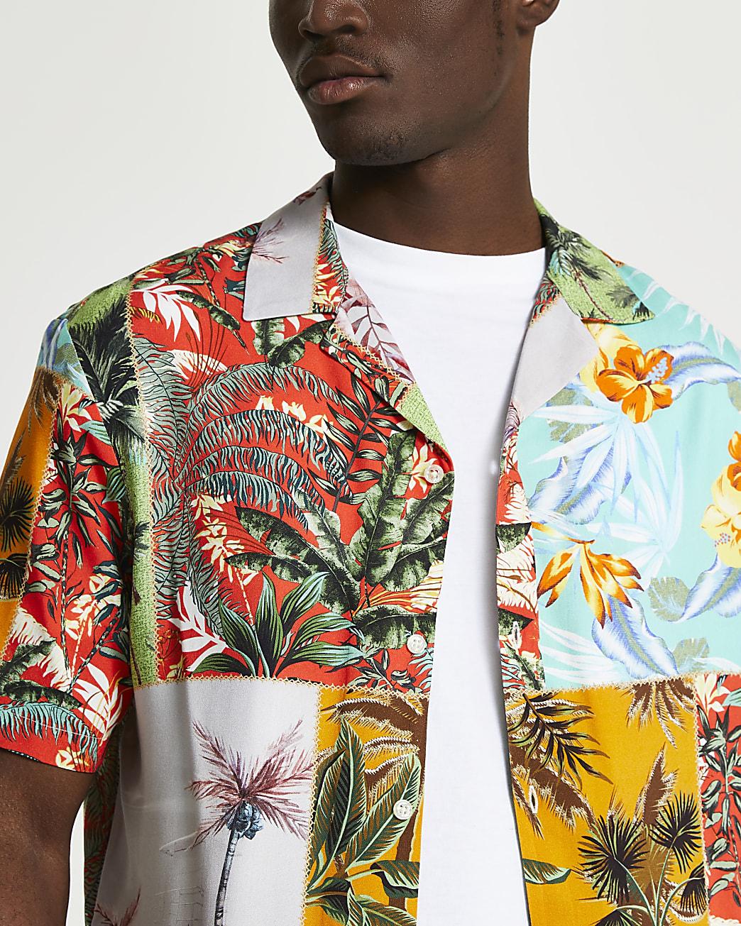 Orange patchwork floral short sleeve shirt