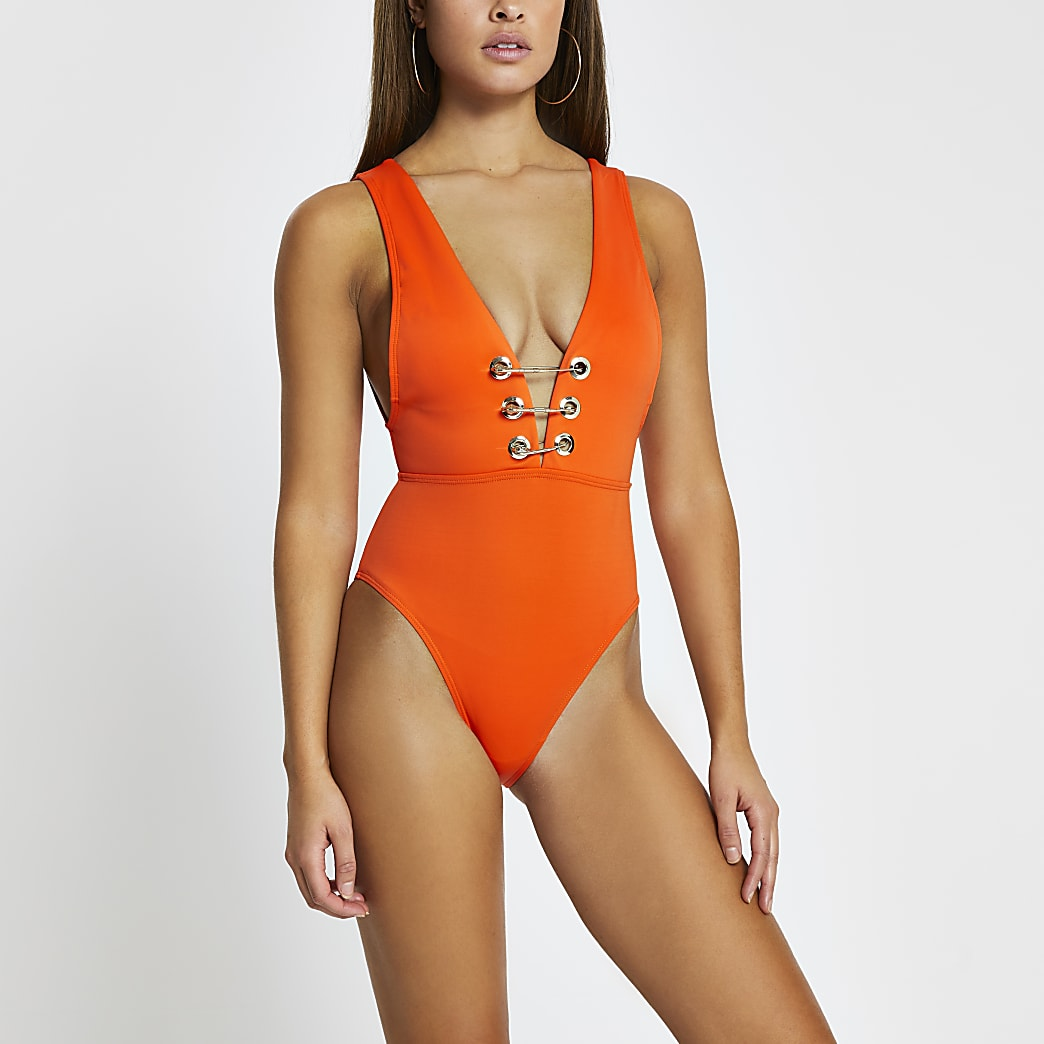 Orange plunge eyelet detail swimsuit