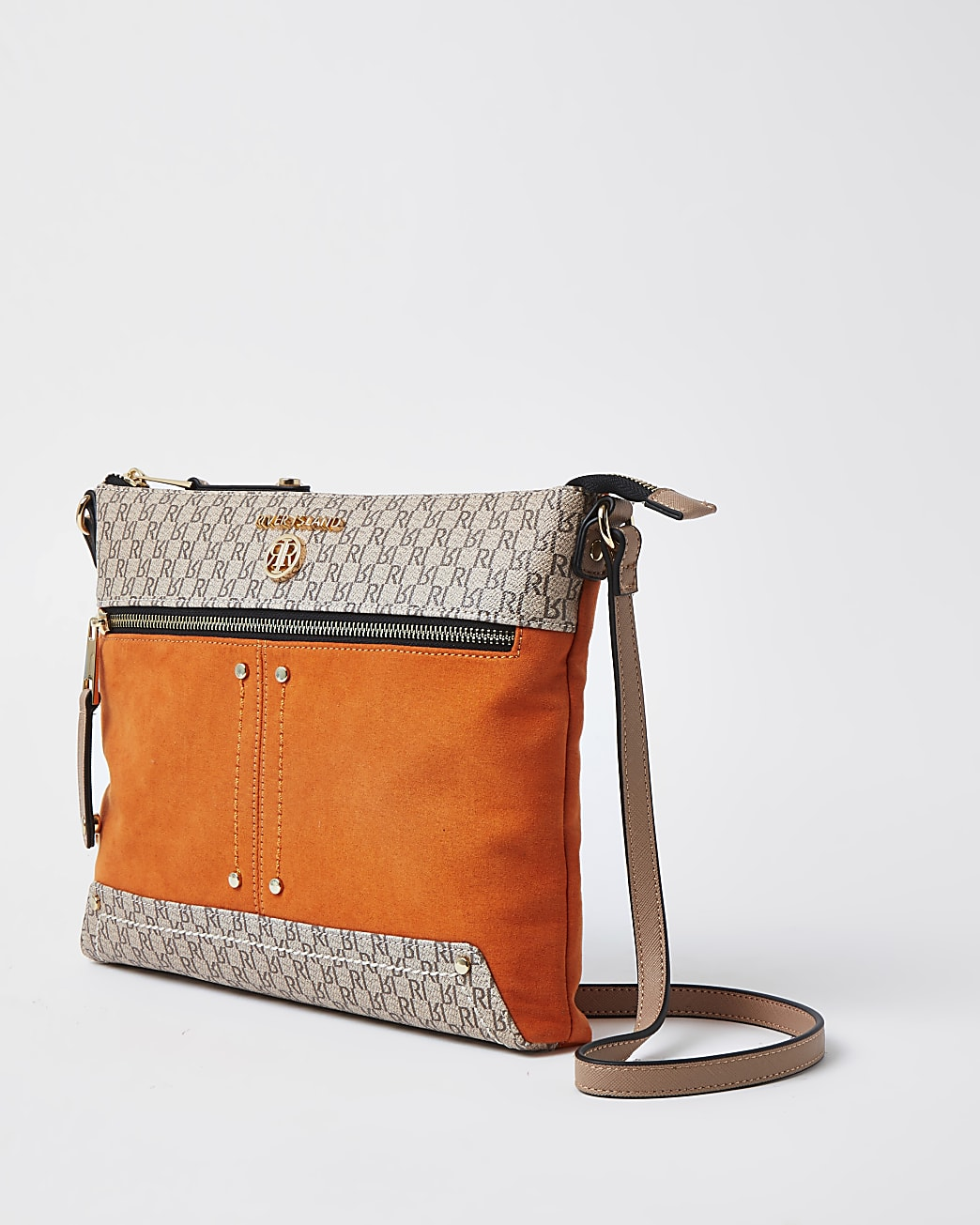 Orange pocket front cross body messenger bag
