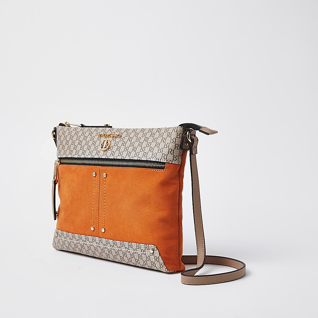 Orange pocket front cross body messenger bag