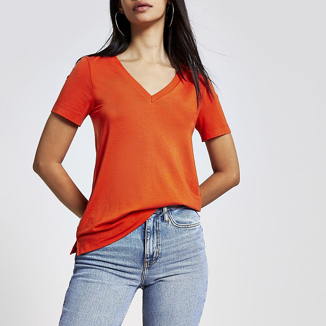 T-shirt orange en jersey de qualitéà col en V