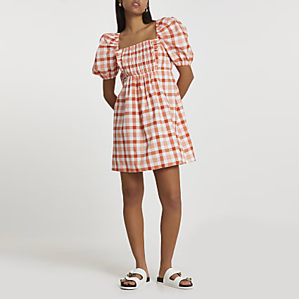 Orange puff sleeve check print mini dress