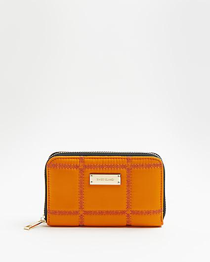 Orange quilted purse