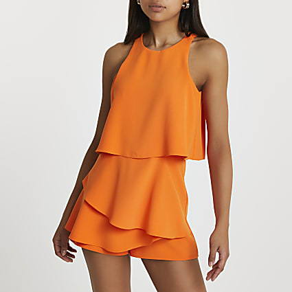Orange racer neck frill playsuit