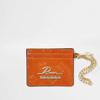 Orange RI embossed card holder wallet