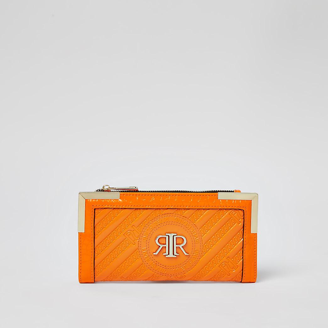 Orange RI embossed zip around purse