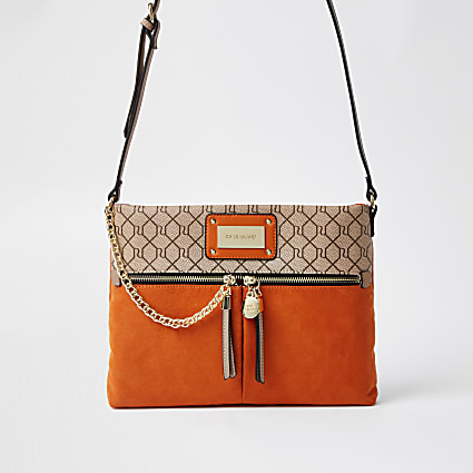Orange RI monogram messenger handbag