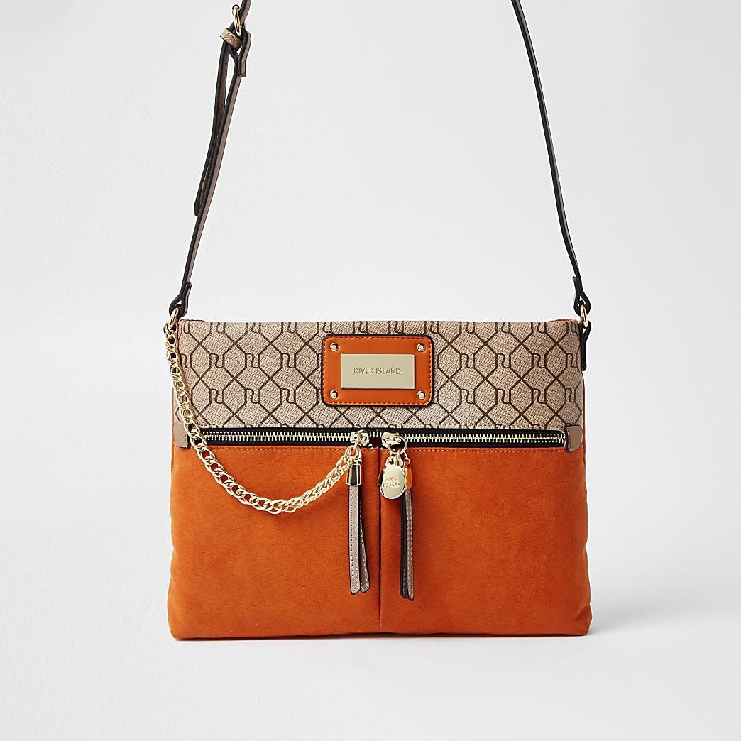 Orange RI monogram messenger handbag