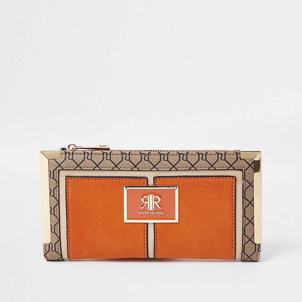 Orange RI monogram metal corner purse