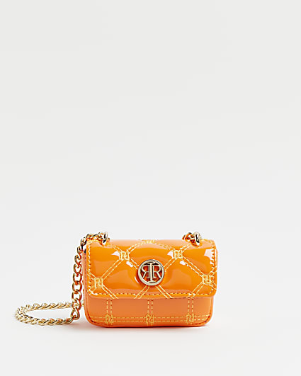 Orange RI monogram print mini cross body bag
