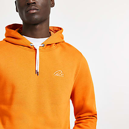 Orange RI slim fit hoodie