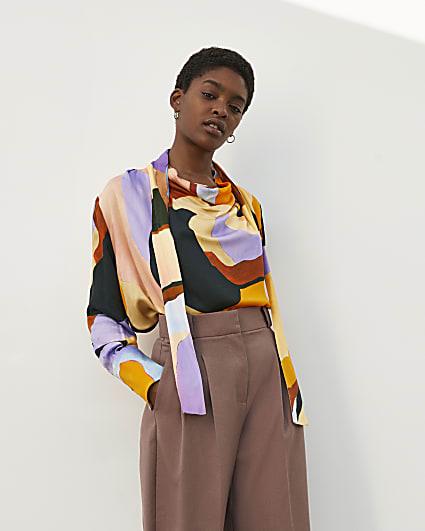 Orange RI Studio Printed Cowl Tie Neck Blouse