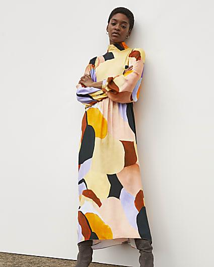 Orange RI Studio Printed High Neck Maxi Dress