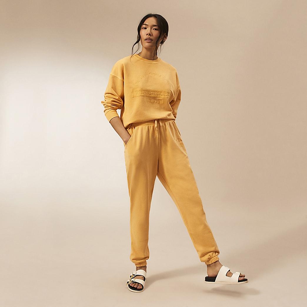 Orange RI Studio tie waist joggers