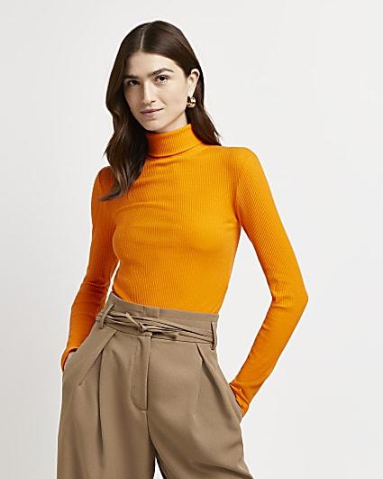 Orange ribbed roll neck jumper