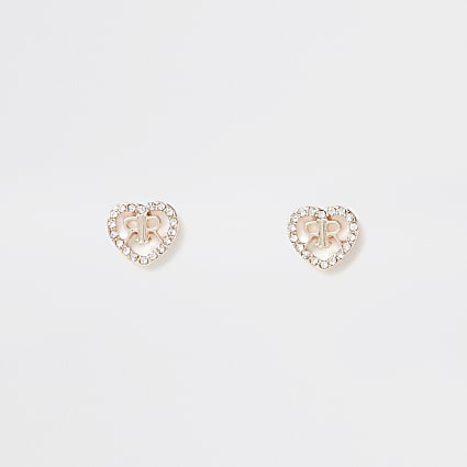 Orange 'RIR' pave heart Delicate Stud
