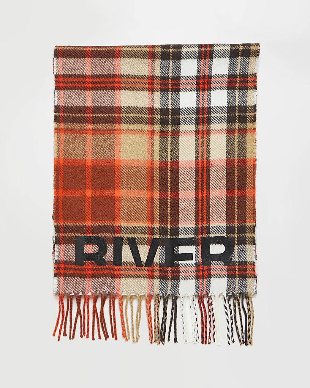 Orange River branded tartan check scarf