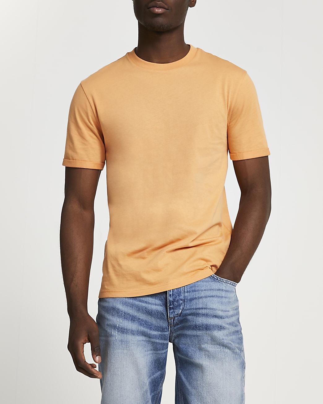 Orange rolled sleeve slim fit t-shirt