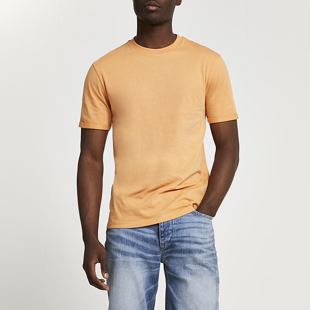 Orange rolled sleeve slim fit t-shirt