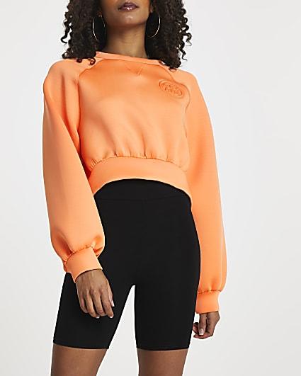 Orange 'RR' cropped scuba sweatshirt