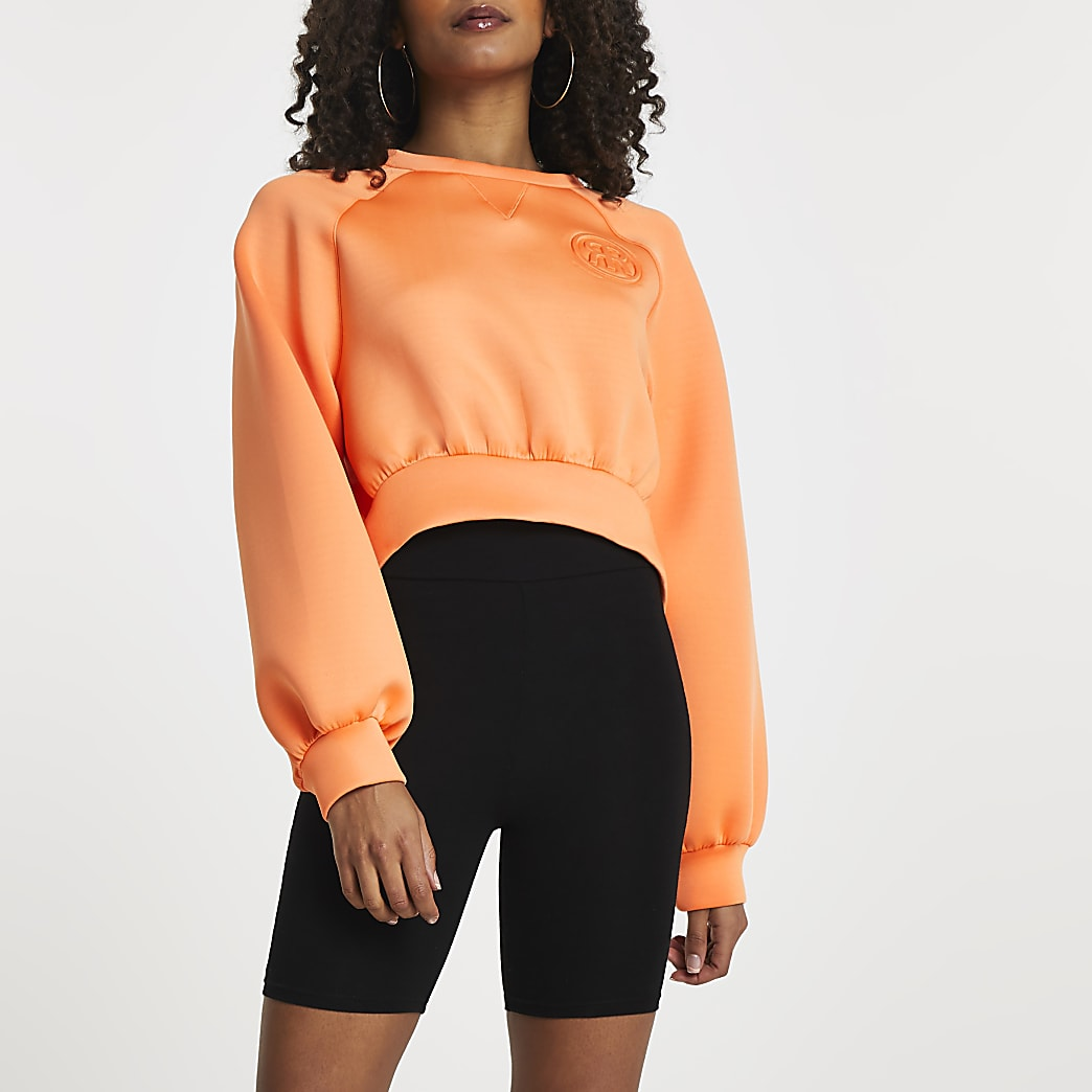 Orange 'RR' cropped scuba sweatshirt