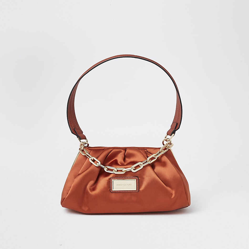 Orange ruched satin underarm bag