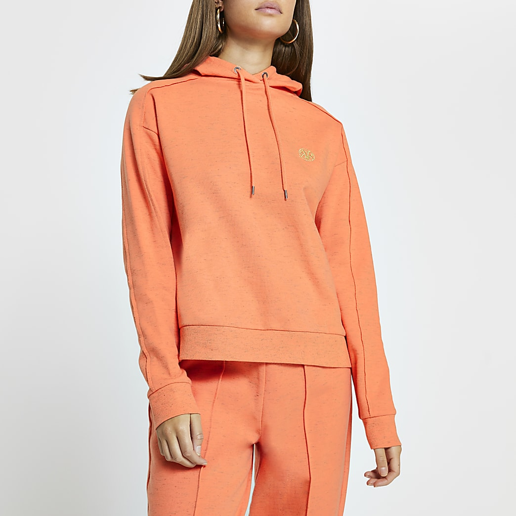 Orange 'RVR' long sleeve hoodie