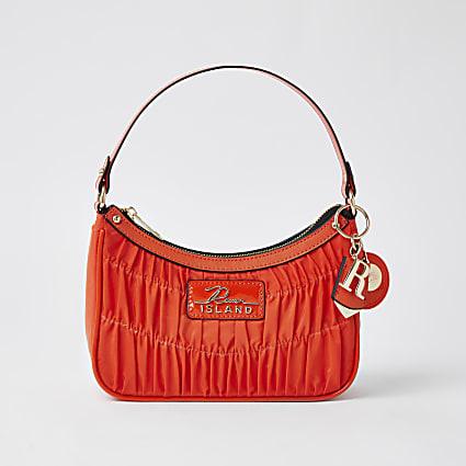 Orange satin ruched scoop shoulder bag