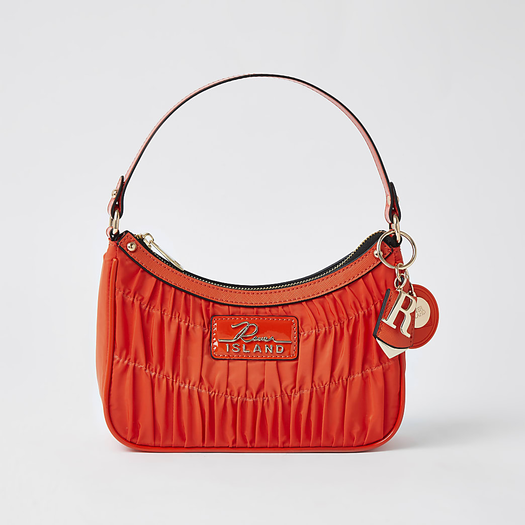 Orange satin ruched scoop shoulder bag