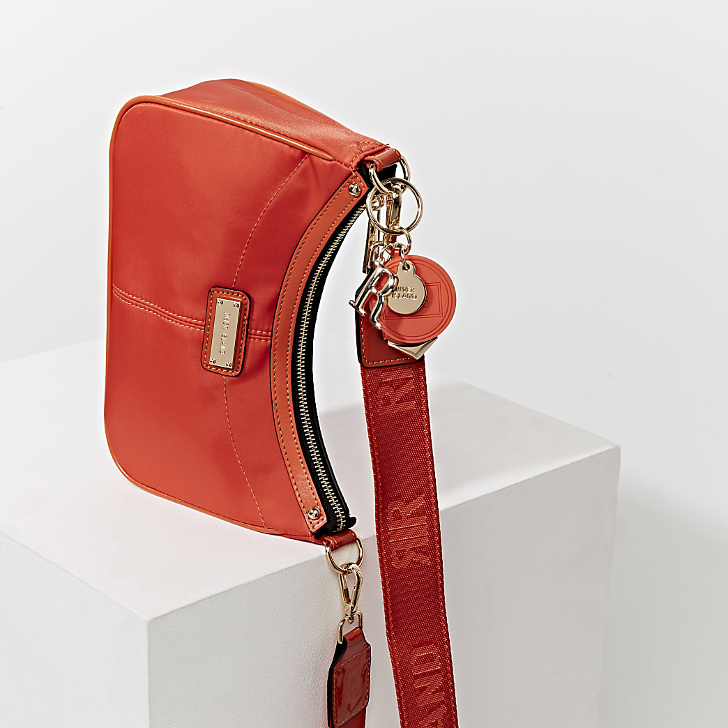 Orange scoop shoulder bag with mini pouchette