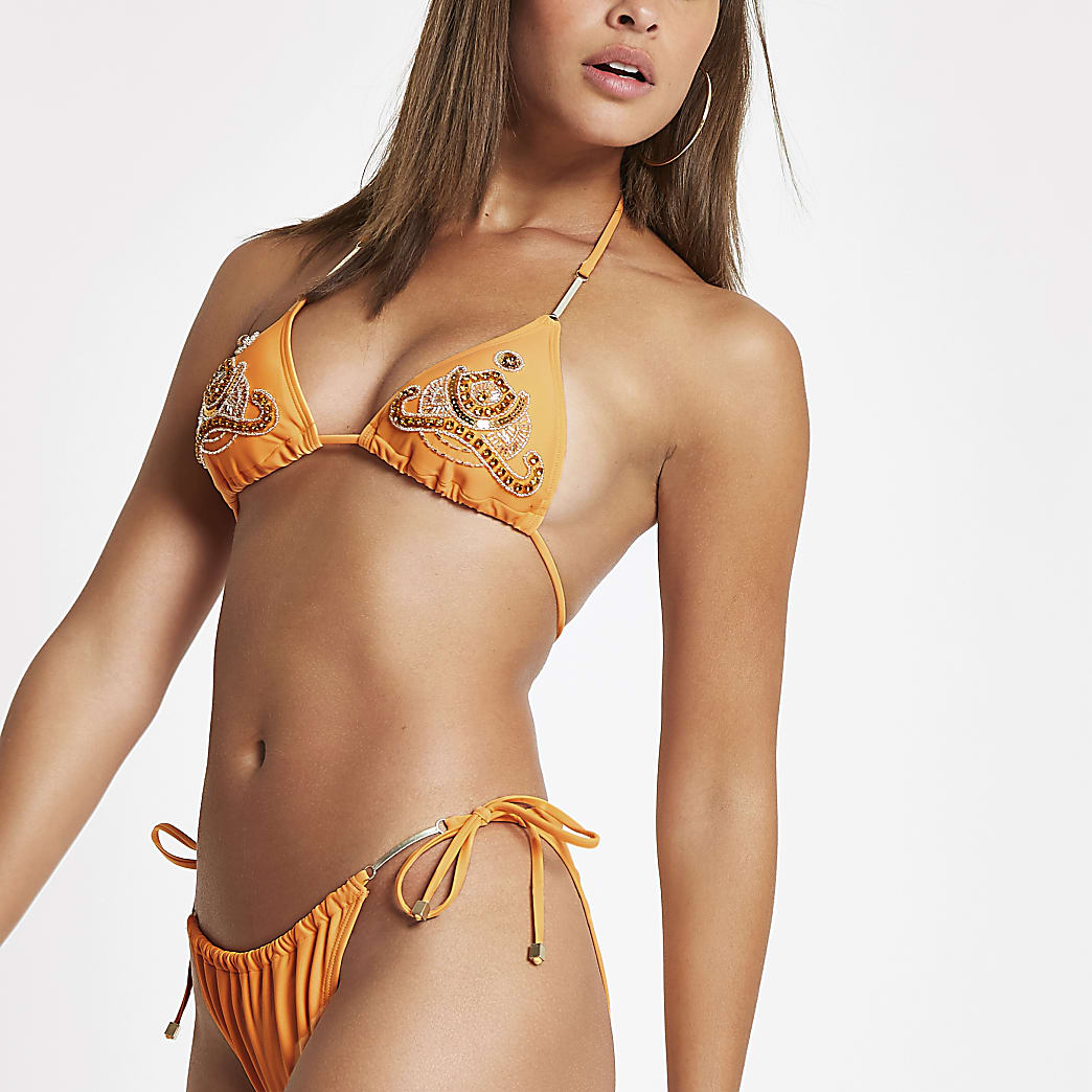 Oranje triangel-bikinitop met lovertjes