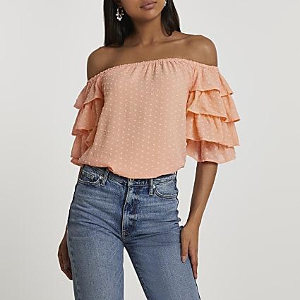 Orange short frill sleeve bardot top