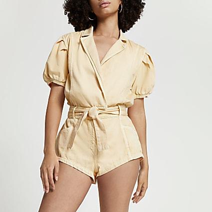 Orange short sleeve belted blazer playsuit