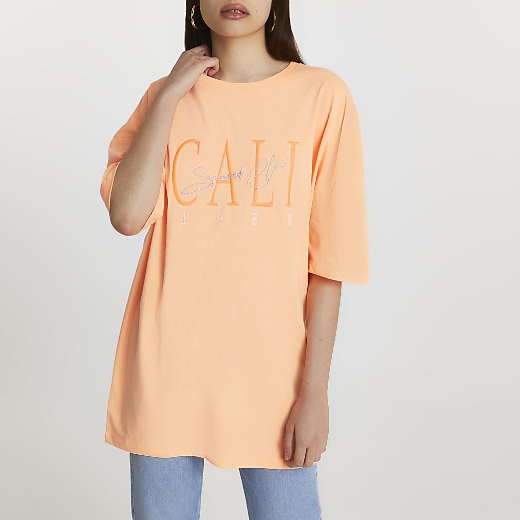 Orange short sleeve 'Cali' oversized t-shirt