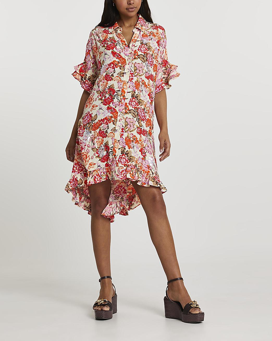 Orange short sleeve floral shirt dress
